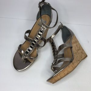 DOLCE VITA DV Metallic Wedge Sandals Cork Size 10